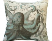 Aqua Octopus on French Document 20x20 or 18x18 or 16x16 or 14x14 Inch Pillow Cover - Soeuralasoeur