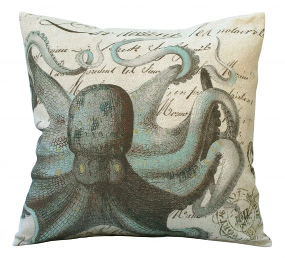 Aqua Octopus on French Document Square 20x20 or 18x18 or 16x16 or 14x14 or Oblong 24x16 or 20x13 or 18x12 Inch Pillow Cover