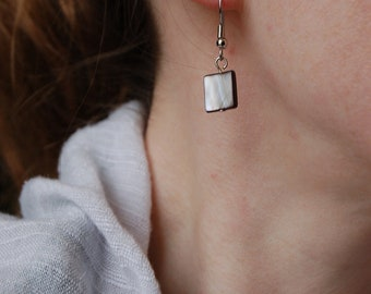 The Natural Square -  Grey Shell Earrings -  The goes with everything pair...