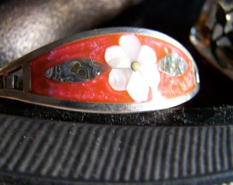 "Vintage 50's ALPACA SILVER BRACELET""  Abalone Shell Fire Red Orange Enamel Inlay Daisy Design Made in Mexico"