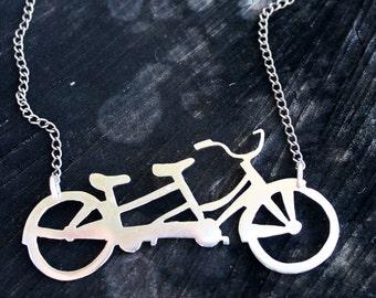bicycle necklace tandem bike pendant sterling silver handmade hipster bike love