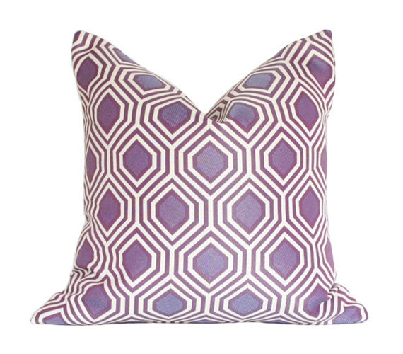 Purple Geometric Print Designer Pillow Cover 17x17