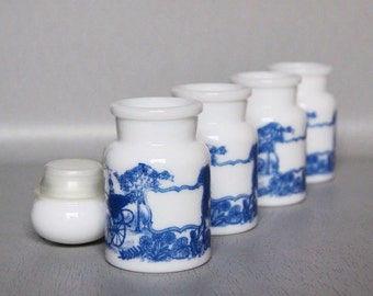 Set of 4 Belgian White Vintage Jars - 60s