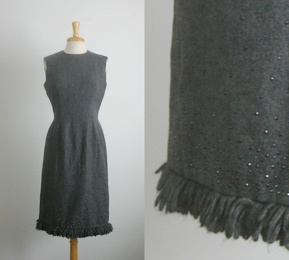 1960s wool gray midi length dress with rhinestone accents, size medium or large