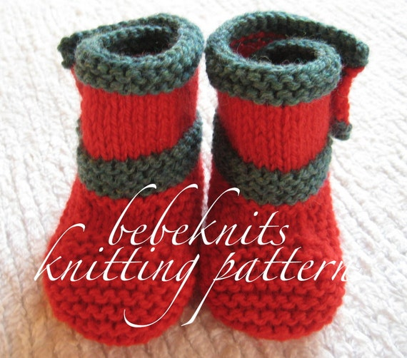Bebeknits Side Buttoned Baby Boots Knitting Pattern