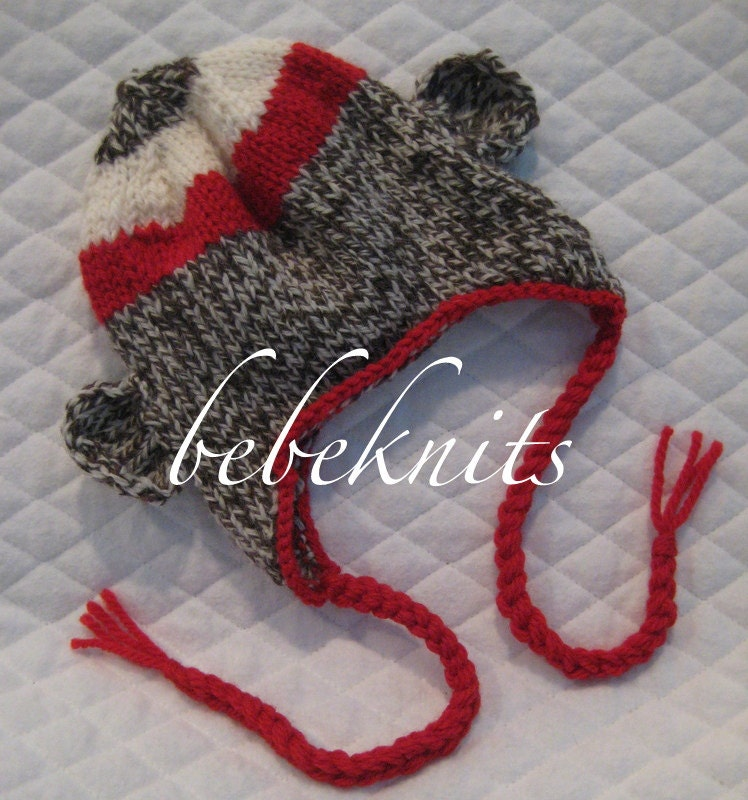 Knitting Pattern Baby Sock Monkey Hat : Hand Knit Sock Monkey Baby Hat and Photo Prop by bebeknits on Etsy