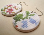 Needlepoint Print Earrings - Recycled China