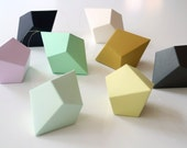 DIY Geometric Paper Ornaments - Set of 8 Paper Polyhedra Templates - Classic Palette - FieldGuideDesign