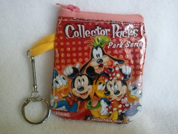 Zipper Pouch Upcycled / Recycled  key chain coin purse / gift card holder Hipster snack bag  small change purse