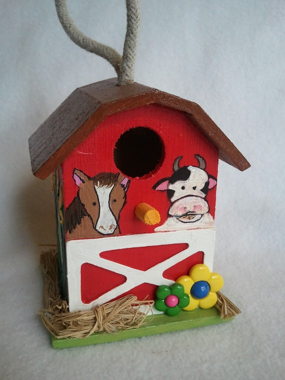 hand painted Barnyard themed embellished whimsical decorative wooden birdhouse
