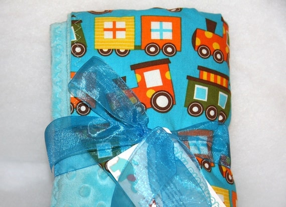 Large Organic Baby Blanket by LoraBelle: Boys Ready Set Go Choo Choo Trains with Light Turquoise Minky 29 x 36""