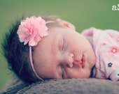 Newborn Headband - Baby Girl Headband - Pretty pink flower puff on a skinny headband - Facebook Fans get 10% OFF