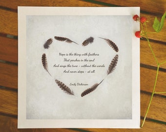Quote poster, poetry print, inspirational typographic print, hope is the thing with feathers, Emily Dickinson poetry, 8x8