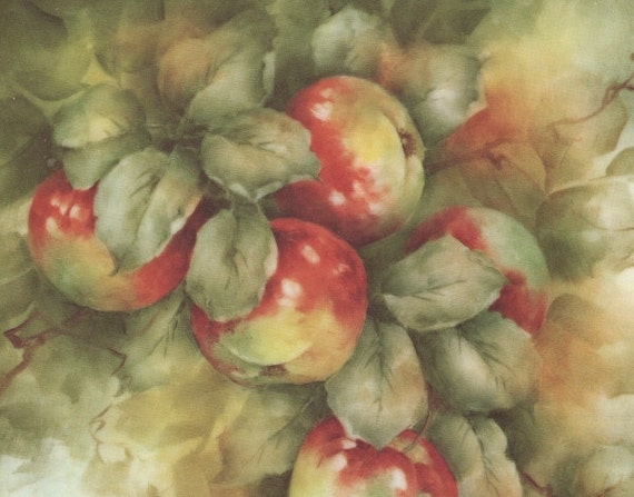 Vintage color art print, botanical illustration, apples, china painting art, antique wall paintings, 1970s print