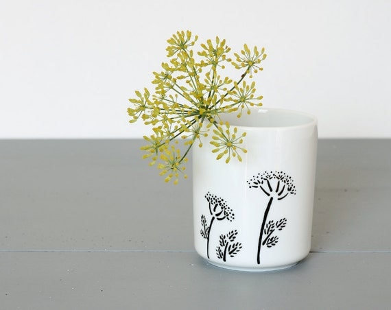 Pencil Cup with dill flowers