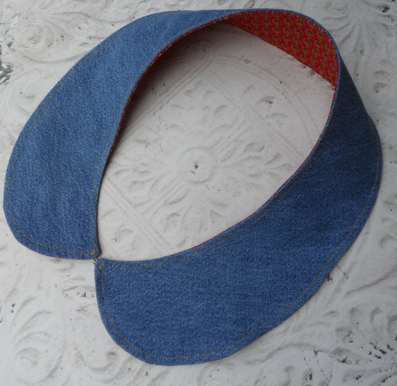 Denim Western Reversible Detachable Collar // Blue and Red Calico // Peter Pan Collar Necklace