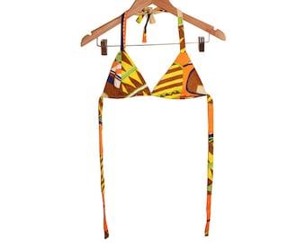70s Bold Geometric triangles Print String Bikini top size S