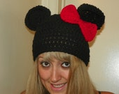 Minnie Mouse Hat  with a Medium  Red Bow  or Choose  from a Hot Pink Bow Sizes 0-3M-Adult