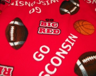 Wisconsin Fleece Blanket says Go Big Red with Football and Basketball Size 54inx60in