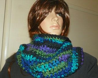 Infinity Scarf   Northen Lights  Cowl Neck Warmer Hood Hand Crochet  Very Stunning Blues Purple
