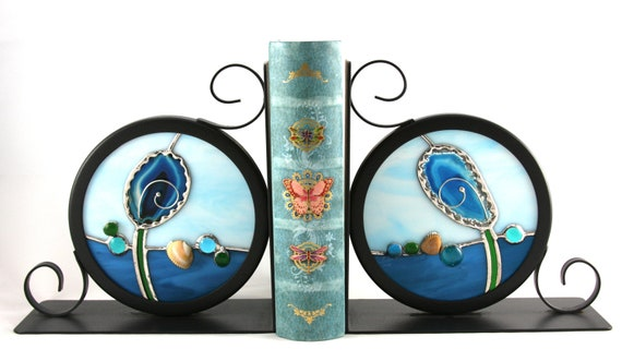 Sea Anemone Agates in Stained Glass Wrought Iron Bookends