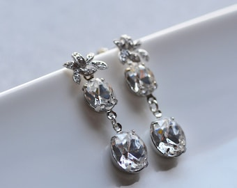 Iris Earrings Wedding Bride Bridesmaid Summer Floral Dangle Flower Delicare Rhinestone Sparkle Clear