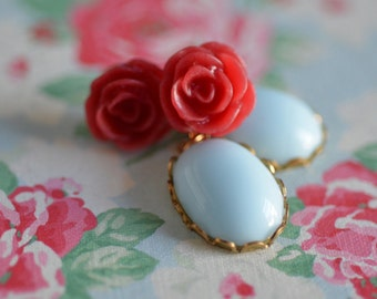 Flower Earrings Dangle Red Rose Cabochon Baby Blue Glass Fun Bright Cheerful Flower Floral Bridesmaid