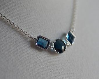 Blue Silver Necklace Bride Wedding Something Blue Bridesmaid