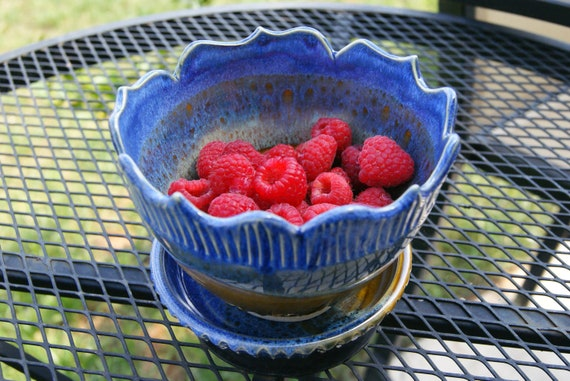 Berry Bowl with Saucer / Serving Bowl / Blue Handmade Pottery / Lotus Rim and Fluted