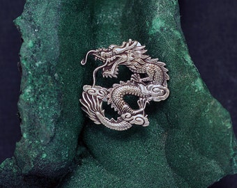 Chinese Imperial Dragon Brooch or Pendant in Sterling Silver