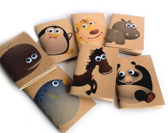 Cute Animal Pocket Sized Kraft Notebook Pocket Booklet in A6 (SET OF 7 assorted animals)