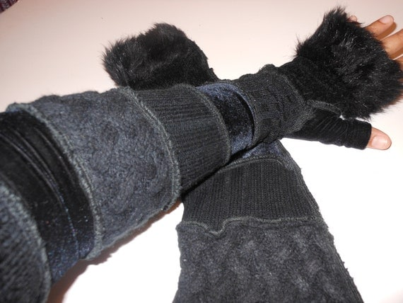 Extra Extra Long Recycled Sweater Sleeves Black With Faux Fur Fairy Gloves by SewWonderifical