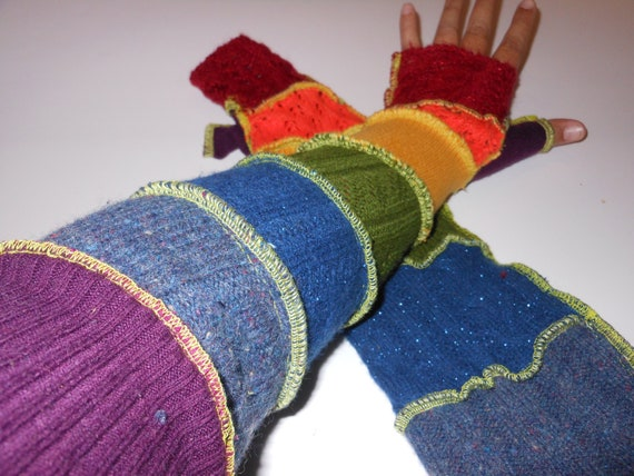 Recycled Sweater Extra Long Sleeves Sprakly Rainbow Fairy Gloves