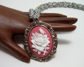 Chainmaille necklace, rose, cameo jewelry, for her, gypsy, cameo necklace