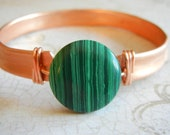 Upcycled Copper, Forged Copper Cuff Bracelet, Malachite Bracelet, Green Stone Sterling Silver and Copper Cuff