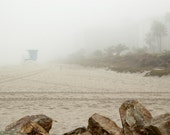 Winter Beach  california coast foggy beach rocks lifeguard stand grey beige sandbrown