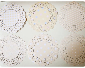 Parisian Lace Doily Pastel orange for Scrap booking or card making / pack