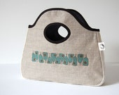 hand bag / clutch bag / printed linen / mid century abstract Pear Wine design/sea blue & bronze