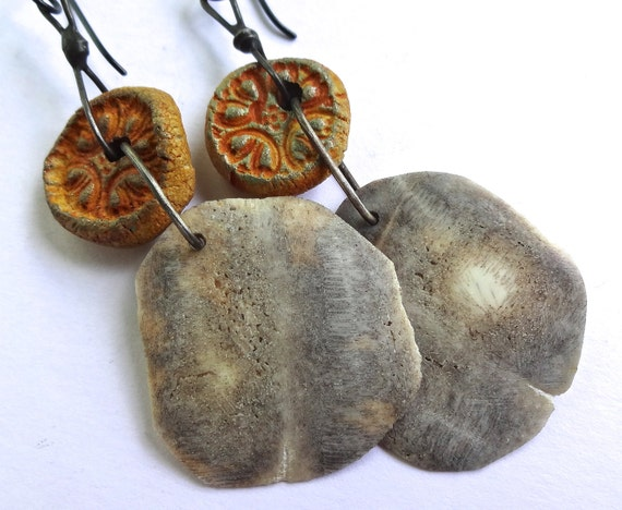 Turtle shell bone and ceramic earrings