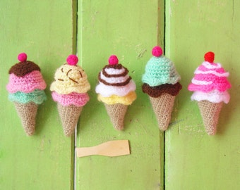 Ice Cream amigurumi PDF - crochet tiny beginner tutorial - rattle, toy, baby mobile nursery gift - Instant DOWNLOAD