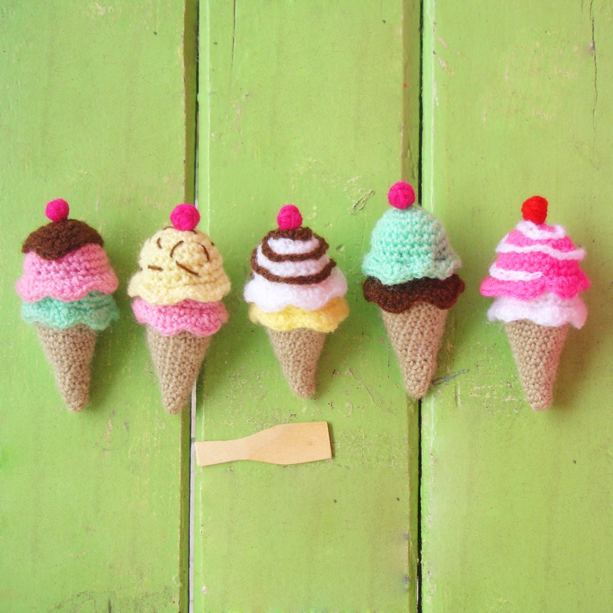 Amigurumi Ice Cream Pattern : Ice Cream amigurumi PDF crochet tiny beginner tutorial