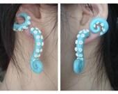 Fake Gauge Wrap-Around Tentacle Earrings MADE TO ORDER