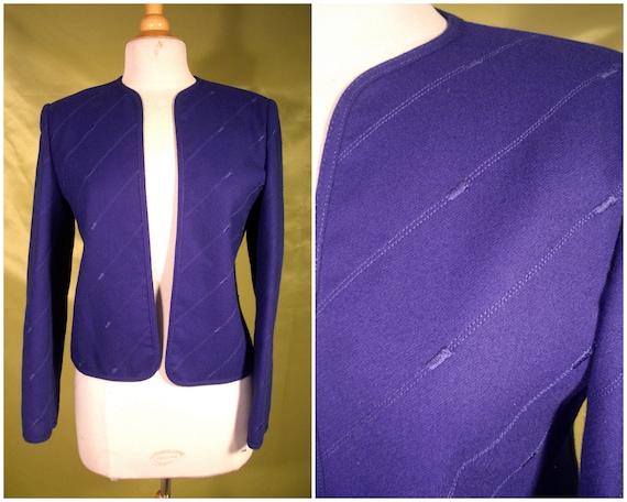 Vintage Couture - Jacket - Couture 80s Designer Louis Feraud 1980s Deep Purple Felted Wool Jacket - For Size Medium Haute Hotties