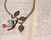 Floral Teacup Charm Necklace