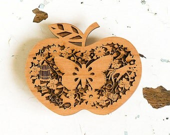 Wooden Apple Brooch