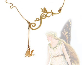 Butterfly on a twig, Dainty necklace, Butterfly charm, twig pendant, Spring jewelry - Gold plated necklace, Gift for teen, Graduation gift