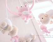 Pink bunnies and lambs baby mobile for Lindsey