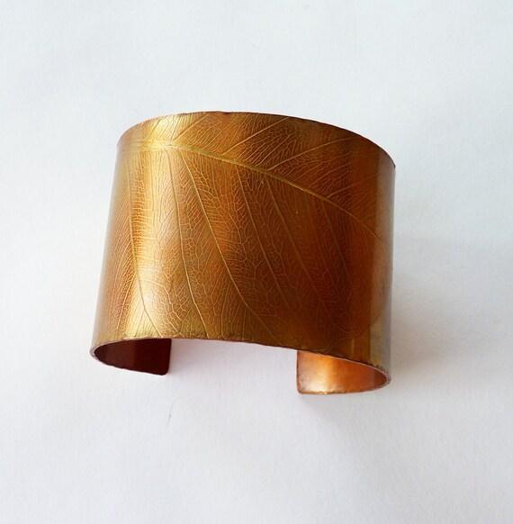 Copper cuff, textured leaf design, bangle, bracelet