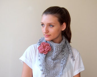 Lace  crochet shawl, soft silver grey triangle scarf with detachable flower, powder pink ,3D flower brooch
