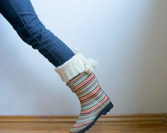Leg warmers crochet pattern, pom pom boot cuffs,   DIY tutorial, winter accessories  boot socks Instant download